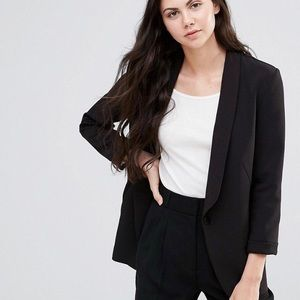 Asos Black Longline Blazer with Slim Lapel size 0